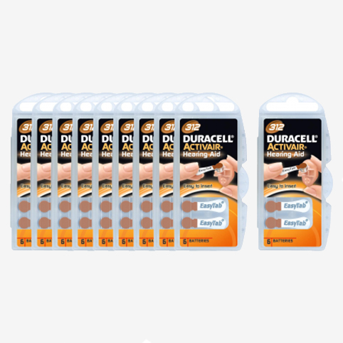 Duracell - 60 piles auditives 312