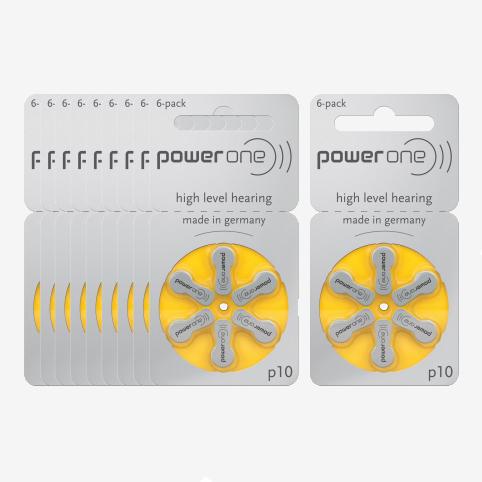 Powerone - 10 plaquettes piles 10 jaune