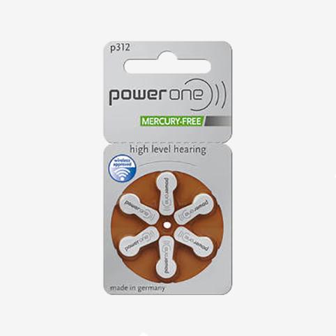 Powerone - plaquette piles 312 marron